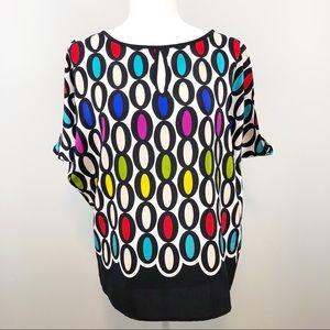 Trina Turk O print dolman multicolored silk top